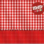 Mini M&M Fundo Xadrez Vermelho e Poá