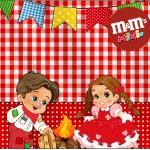 Mini M&M Kit Festa Junina Vermelho e Branco
