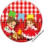 Molde para Tubete Kit Festa Junina Vermelho e Branco