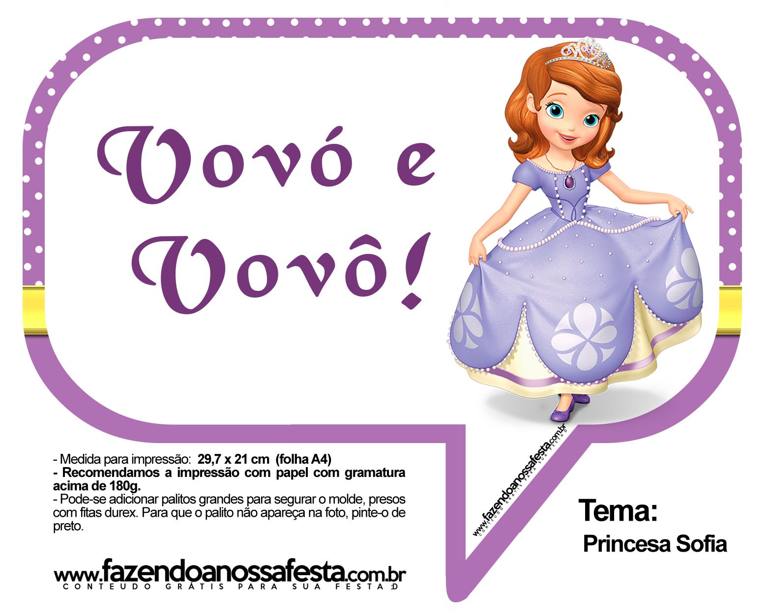 Plaquinhas Divertidas Princesa Sofia 15