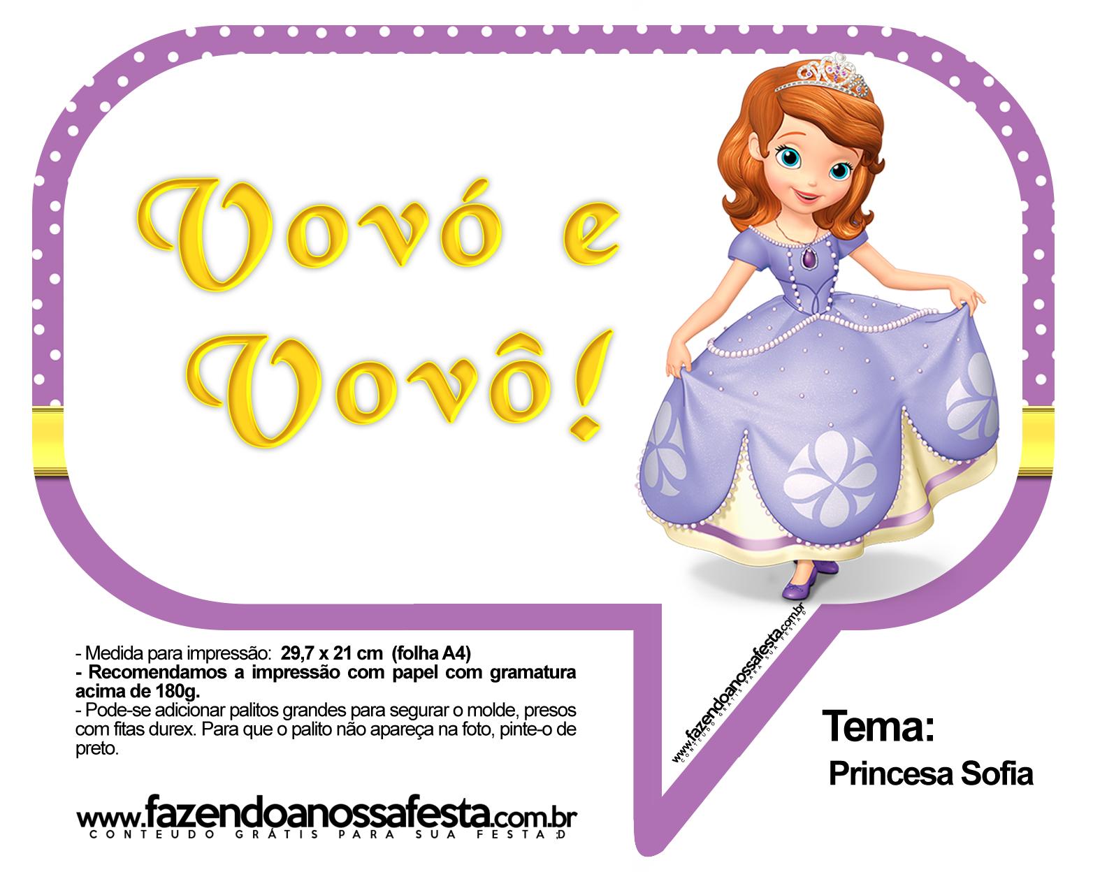 Plaquinhas Divertidas Princesa Sofia 64
