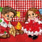 Quebra-cabeça Kit Festa Junina Vermelho e Branco