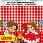 Rótulo Batom Garoto Kit Festa Junina Vermelho e Branco