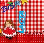 Rótulo Bis Duplo Kit Festa Junina Vermelho e Branco
