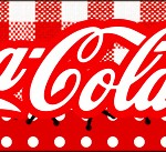 Rótulo Coca-cola Fundo Xadrez Vermelho e Poá
