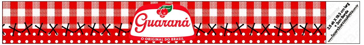 Rótulo Guaraná Caçulinha Fundo Xadrez Vermelho e Poá