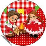 Rótulo Latinha Kit Festa Junina Vermelho e Branco