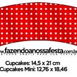 Saias Wrappers para Cupcakes Fundo Xadrez Vermelho e Poá 2