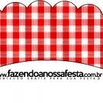 Saias Wrappers para Cupcakes Fundo Xadrez Vermelho e Poá