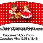 Saias Wrappers para Cupcakes Kit Festa Junina Vermelho e Branco 2