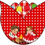 Tag Tulipa Kit Festa Junina Vermelho e Branco
