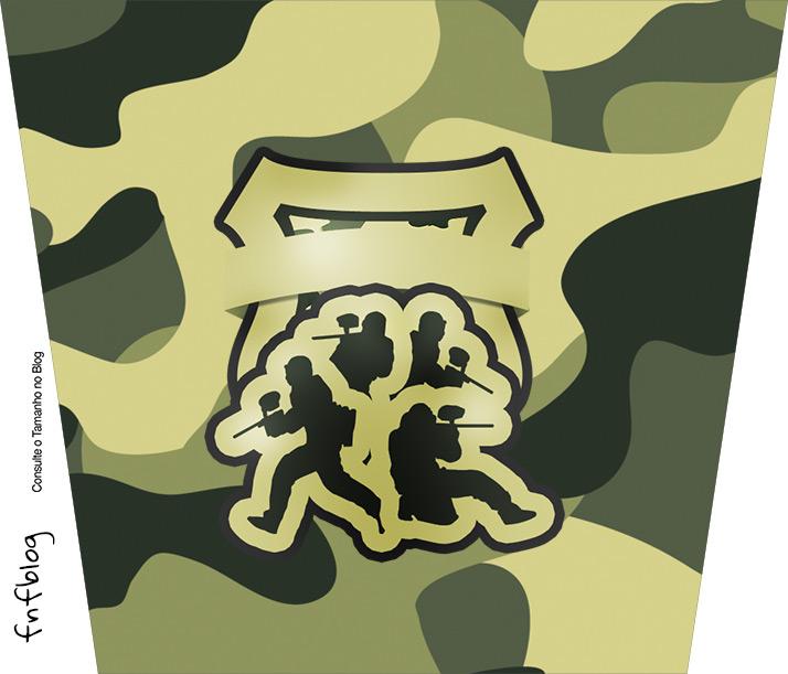 Balde de Pipoca Kit Militar Camuflado