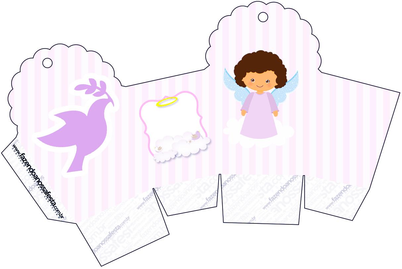 Caixa Cupcake Batizado Anjinha Afro