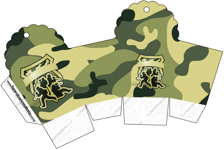 Caixa Cupcake Kit Militar Camuflado