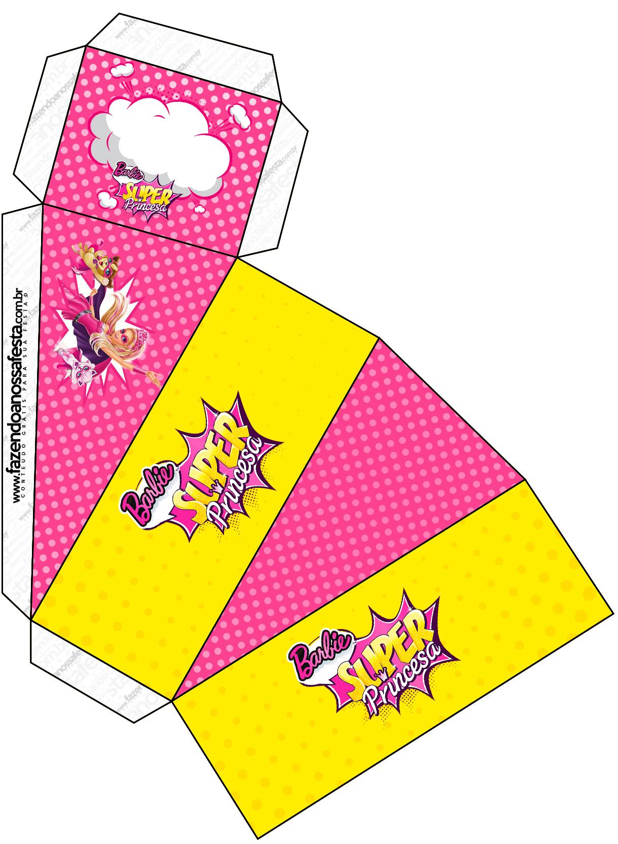 Caixa Fatia Barbie Super Princesa Rosa