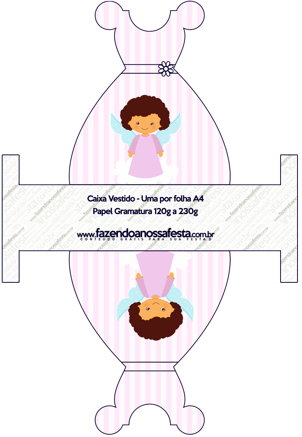 Caixa Vestido Batizado Anjinha Afro