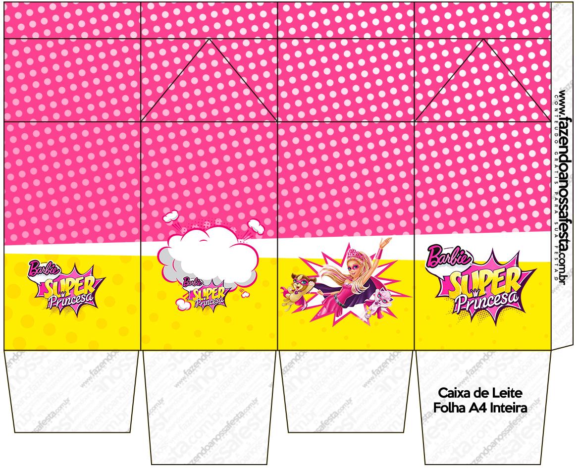Caixa de Leite Barbie Super Princesa Rosa