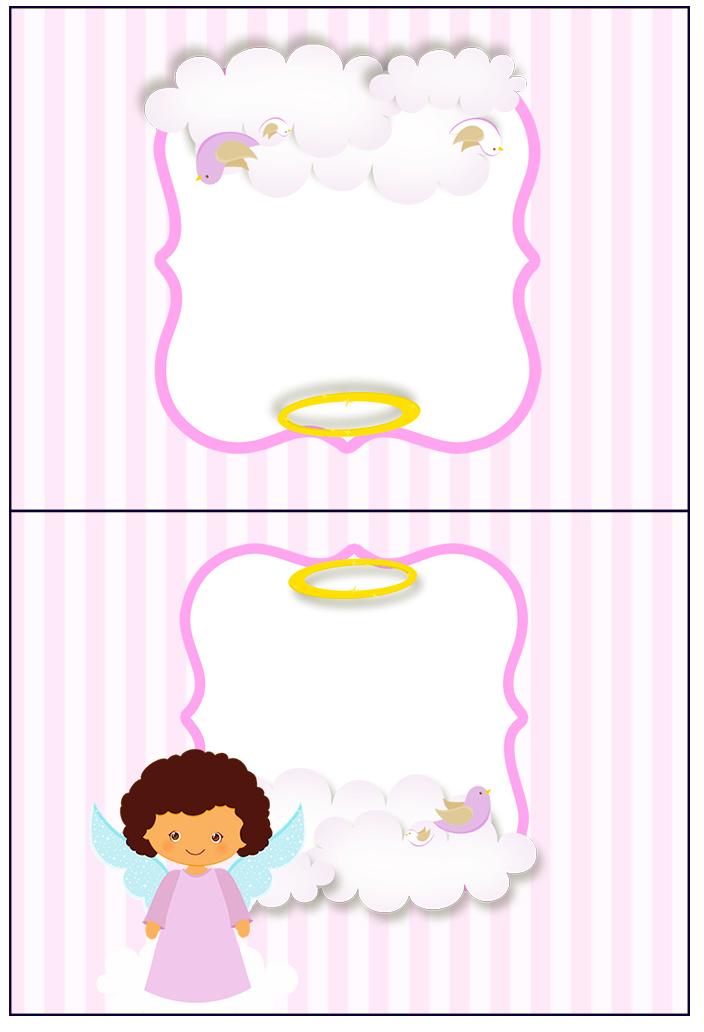 Cartão Agradecimento de Mesa Batizado Anjinha Afro