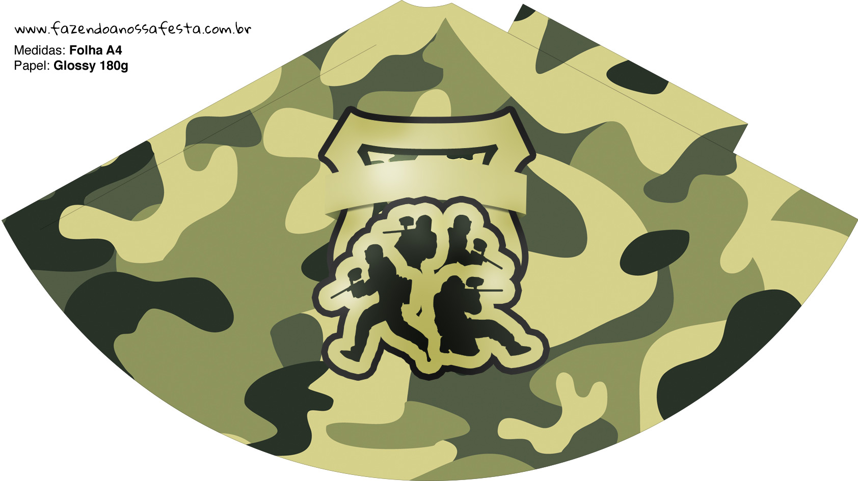 Chápeu de Festa Kit Militar Camuflado