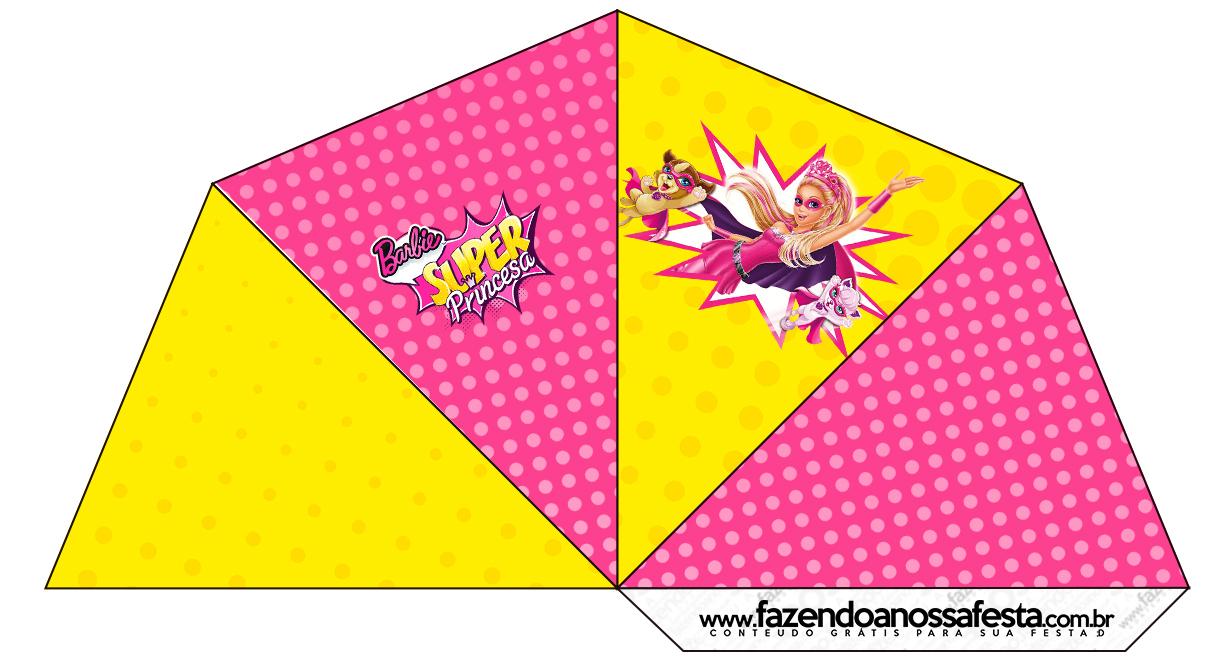 Cone Guloseimas 4 lados Barbie Super Princesa Rosa