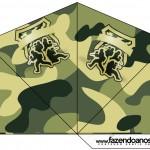 Cone Guloseimas 4 lados Kit Militar Camuflado