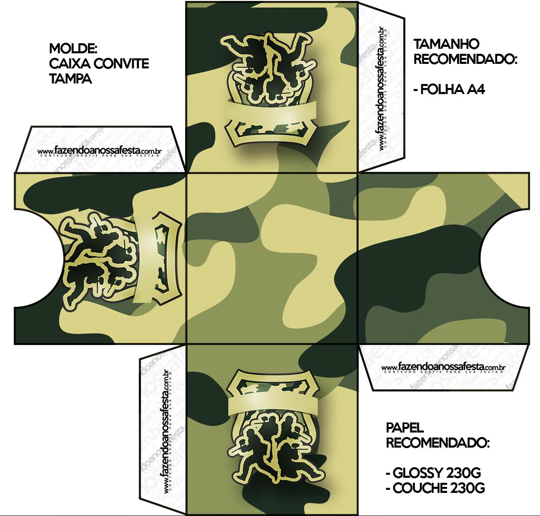 Convite Caixa Tampa Kit Militar Camuflado