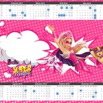 Convite Calendário 2015 2 Barbie Super Princesa Rosa