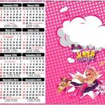 Convite Calendário 2015 Barbie Super Princesa Rosa