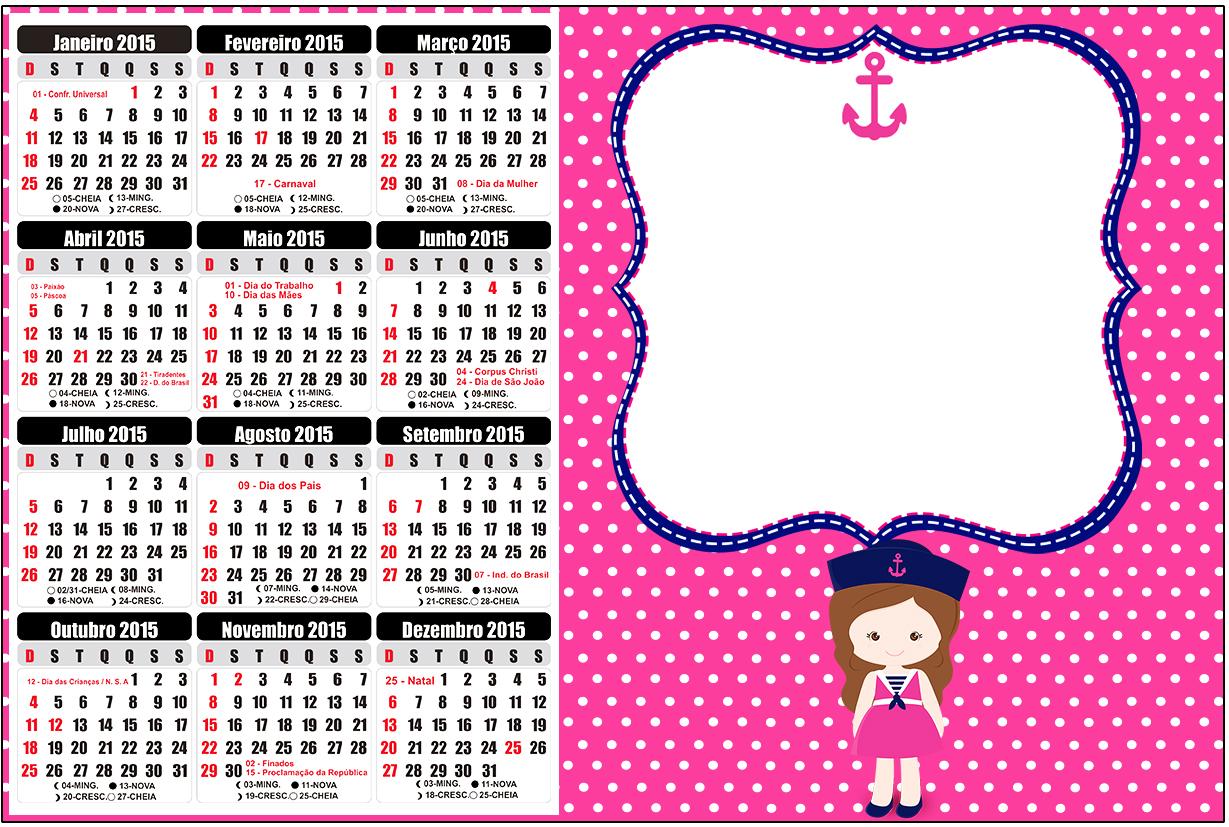 Convite Calendário 2015 Menina Marinheira