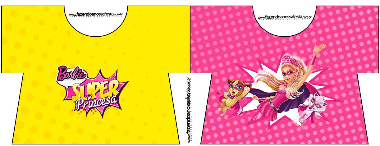 Convite Camisa Barbie Super Princesa Rosa
