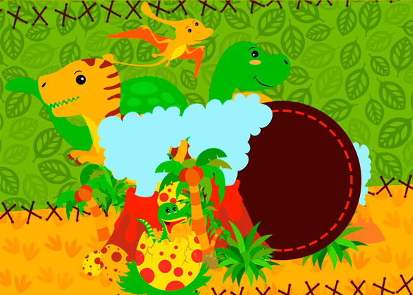 Convite Dinossauro Cute - Modelo
