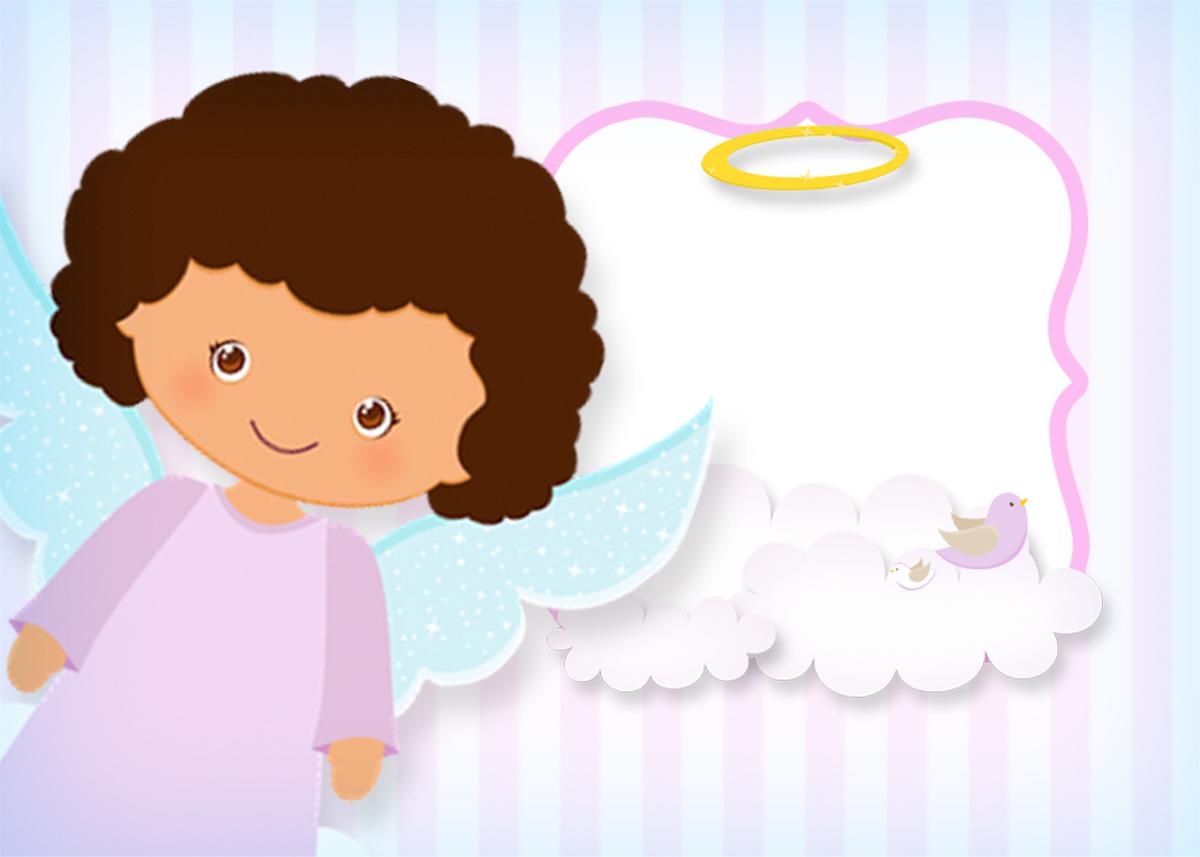 Convite, Moldura e Cartão Batizado Anjinha Afro