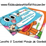 Convite O Incrível Mundo de Gumball – Grátis para Festa