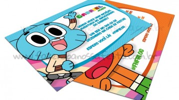 Convite O Incrível Mundo de Gumball Modelo