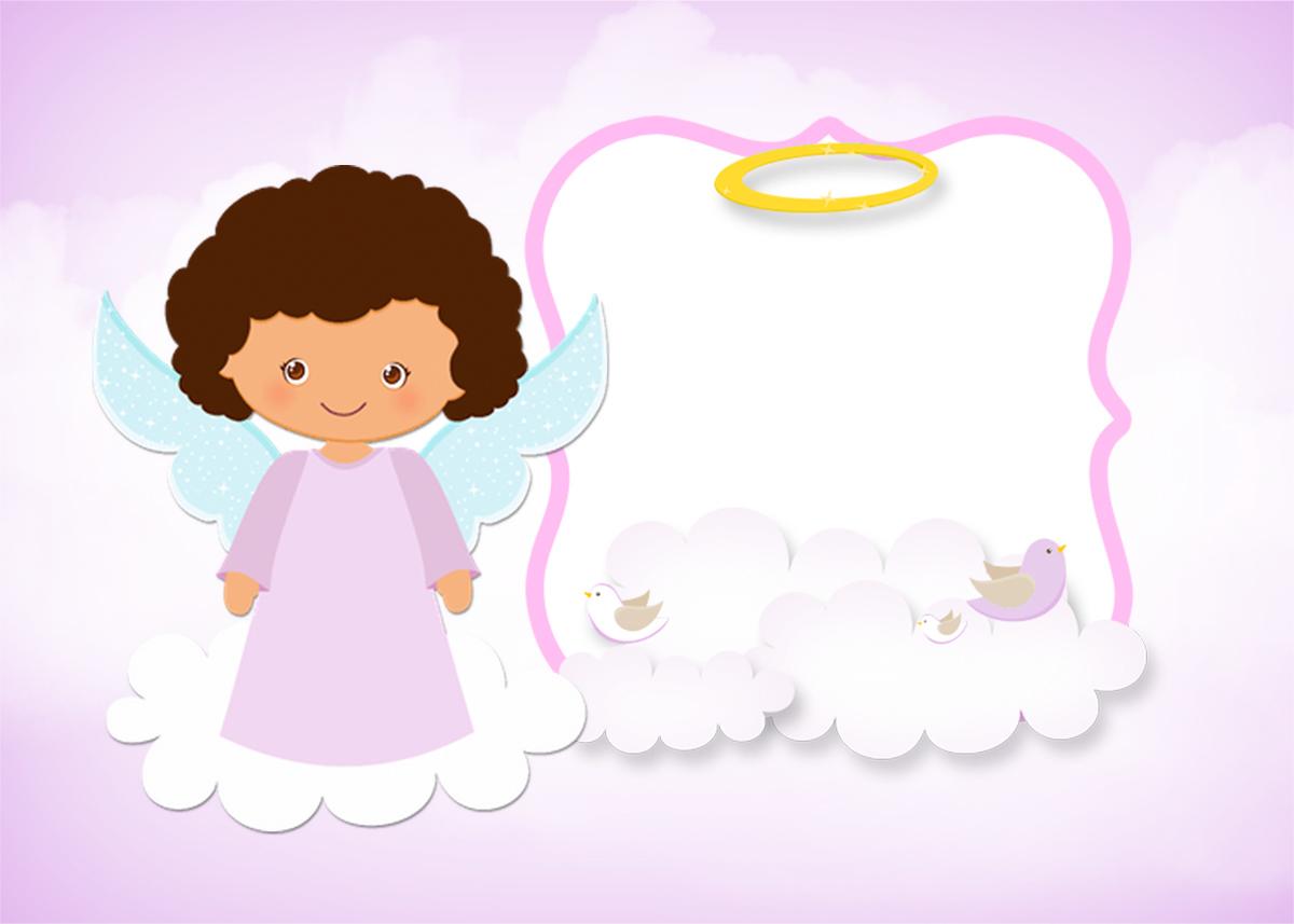 Convite ou Cartão Batizado Anjinha Afro