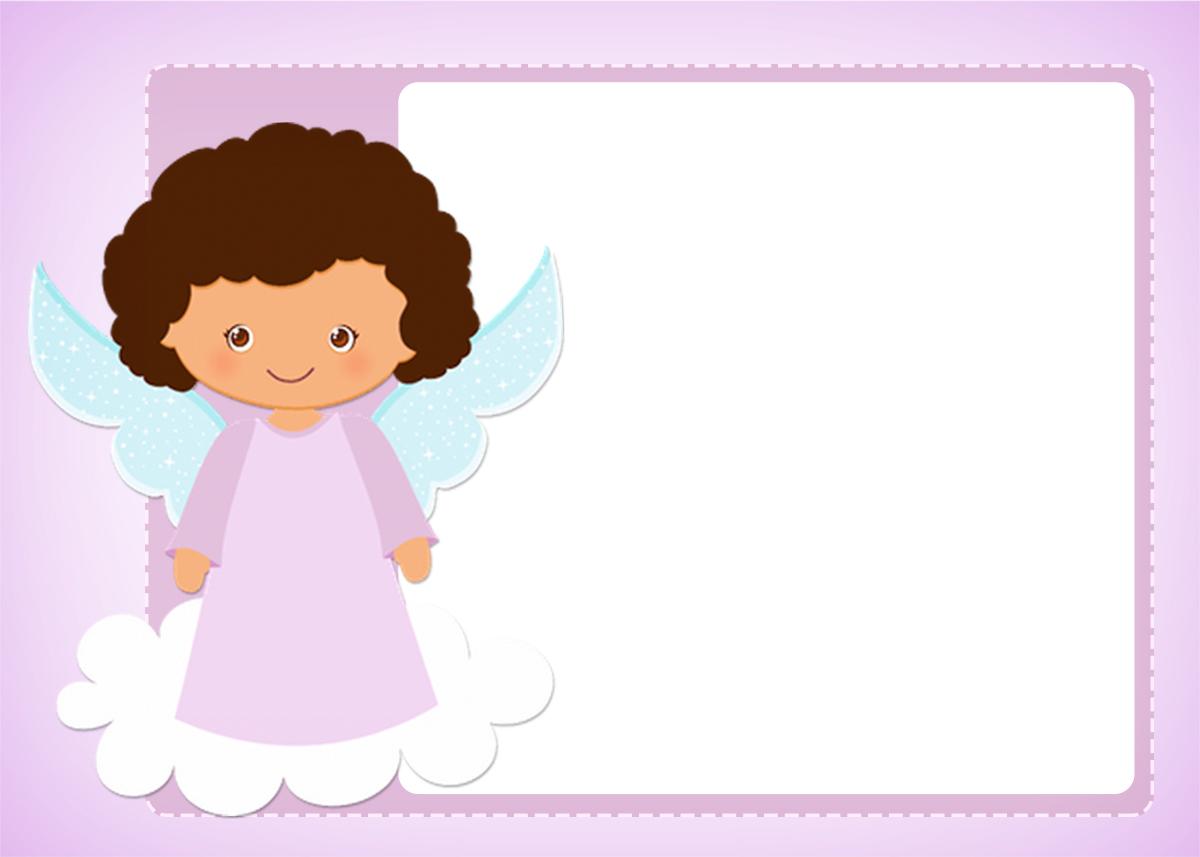 Convite ou Moldura Batizado Anjinha Afro