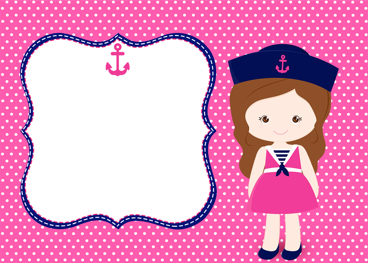 Convite ou Moldura Menina Marinheira