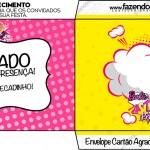 Envelope Cartão Agradecimento Barbie Super Princesa Rosa