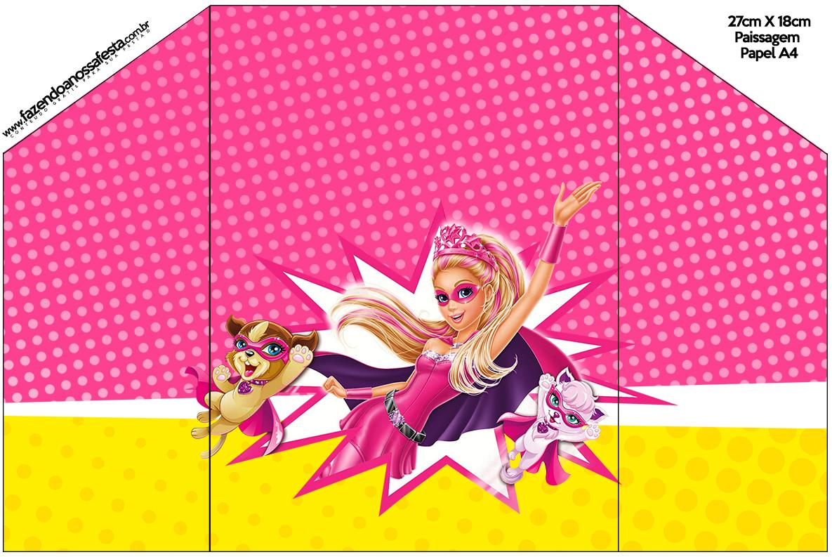 Envelope do Convite Barbie Super Princesa Rosa
