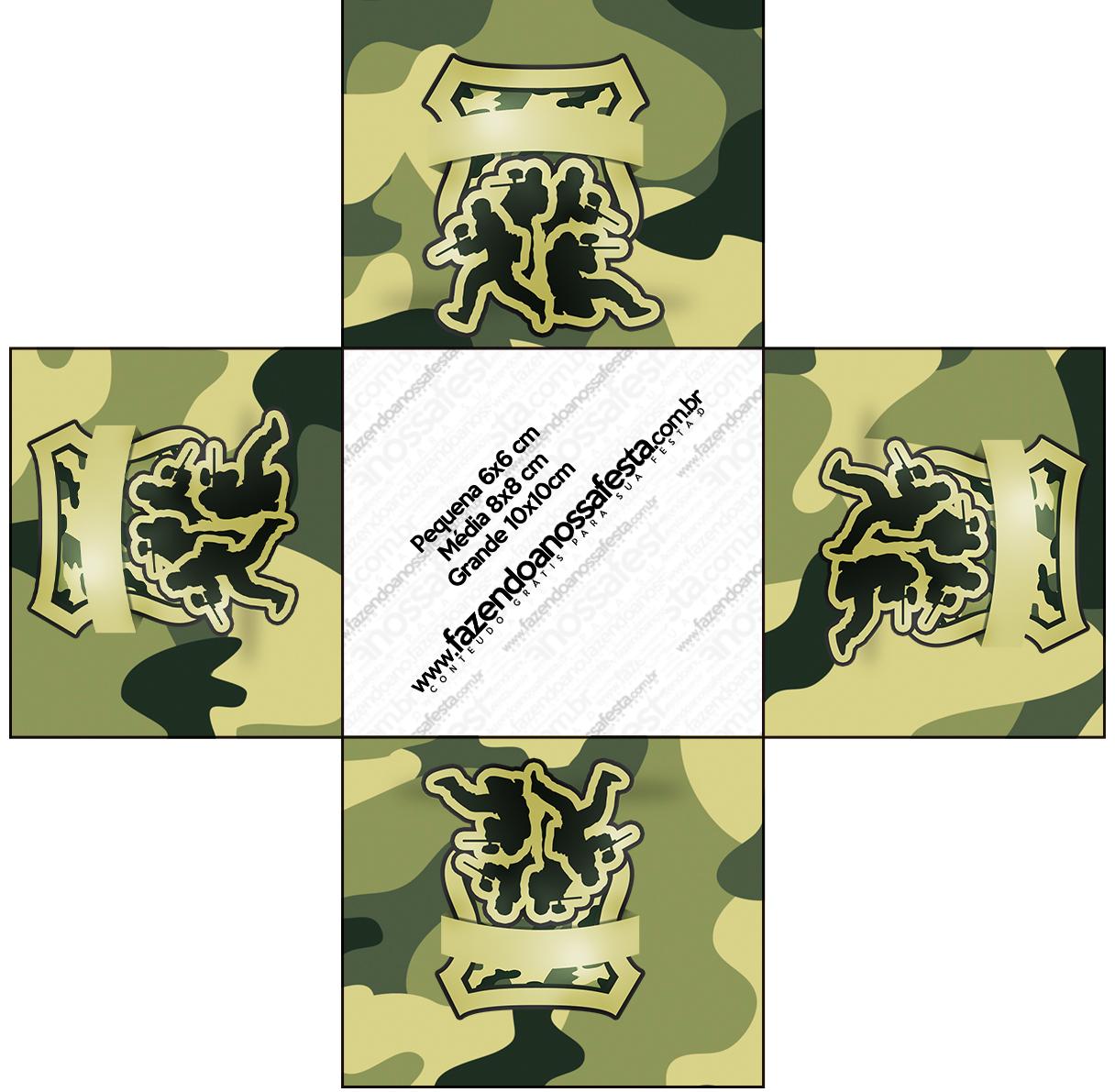 Forminha Docinho Quadrada Kit Militar Camuflado