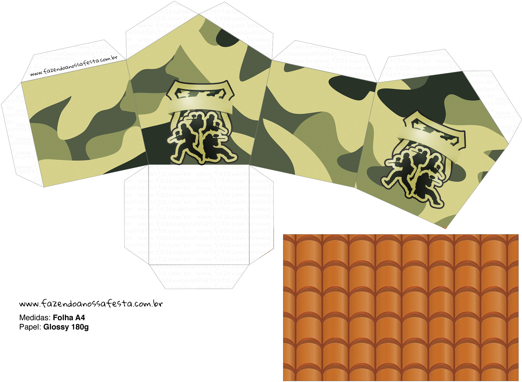 Molde Casinha Kit Militar Camuflado