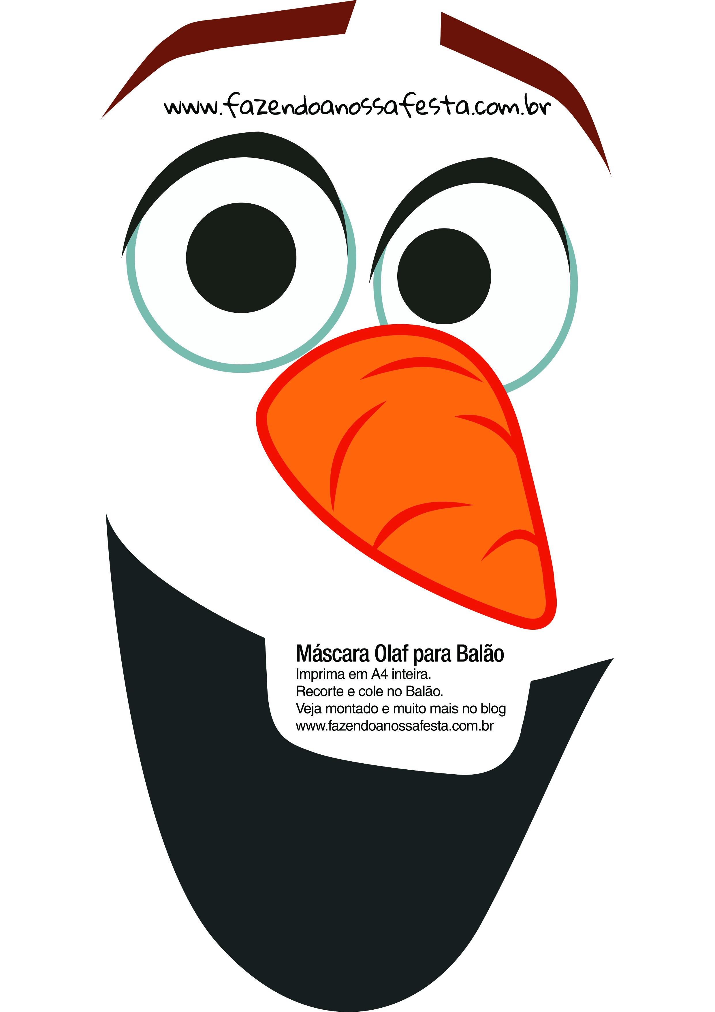 Rosto do Olaf para balão - Fazendo a Nossa Festa