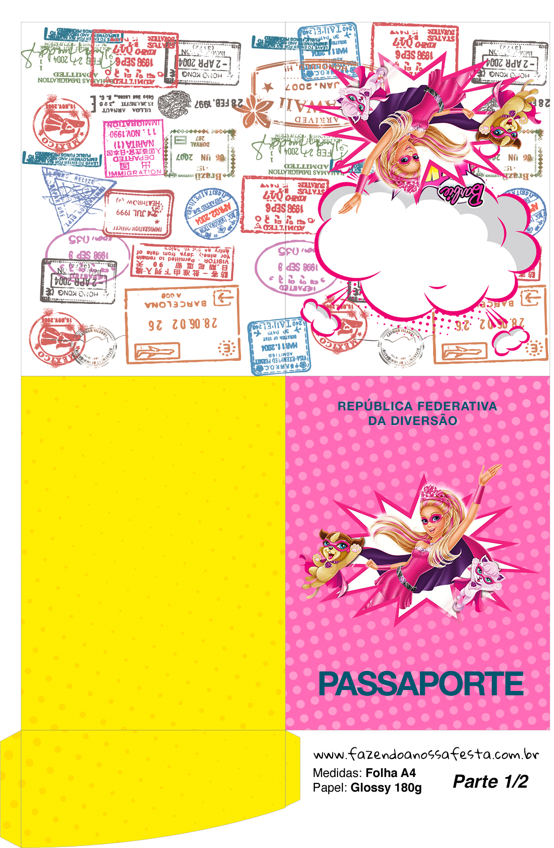 Passaporte Barbie Super Princesa Rosa
