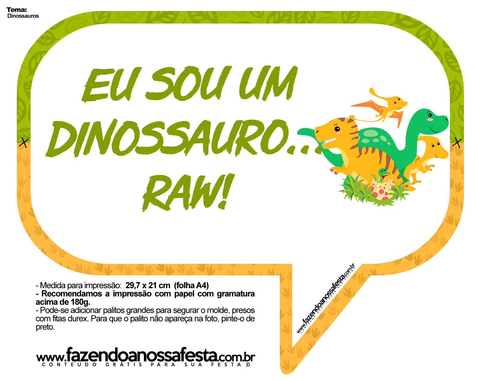 Plaquinha Divertida Dinossauro Cute 13