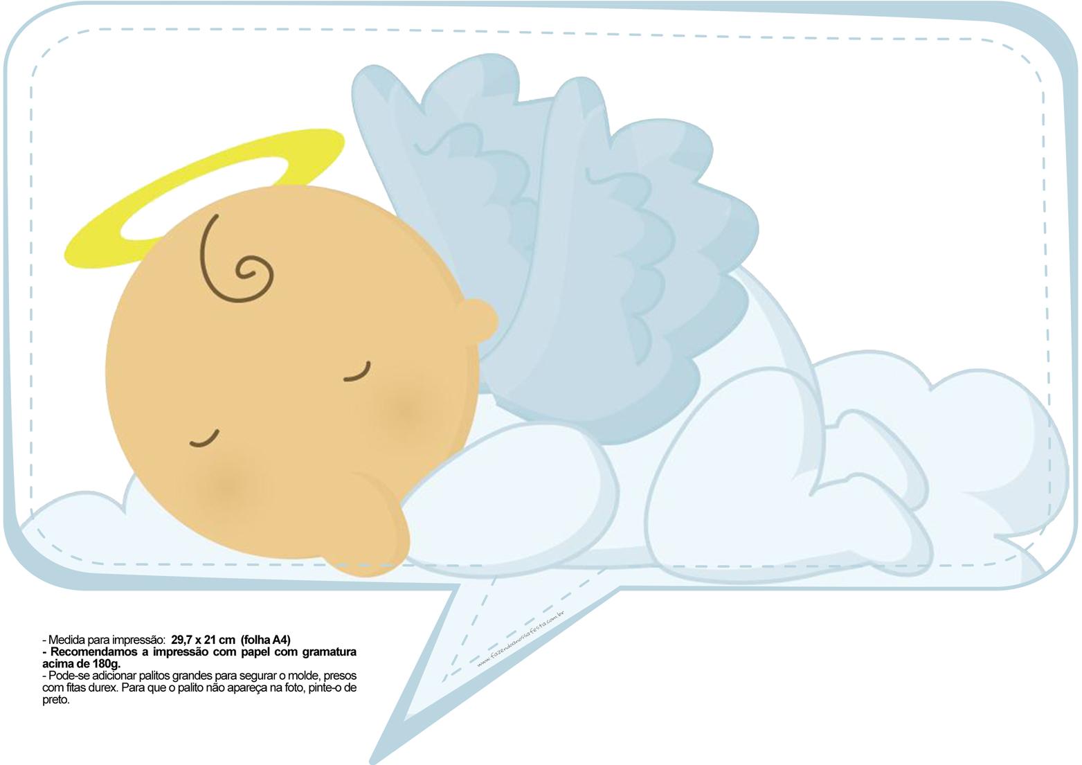 Plaquinhas para Chá de Bebê - Anjinho