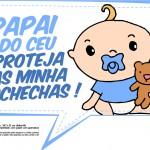 Plaquinhas para Chá de Bebê - Papai do céu proteja as minhas bochechas