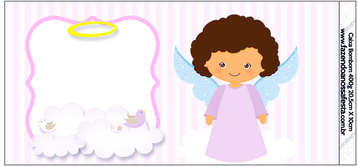 Rótulo Caixa de Bombom Batizado Anjinha Afro