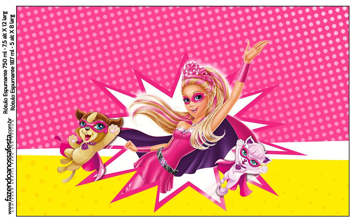Rótulo Espumante Barbie Super Princesa Rosa
