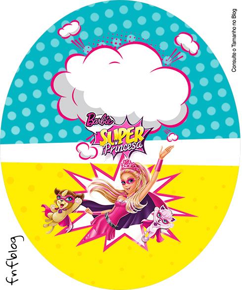 Rótulo Tubete Oval Barbie Super Princesa