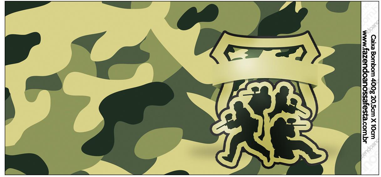 Rótulo para Caixa de Bombom Kit Militar Camuflado
